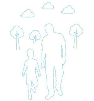 Man walking with young son