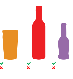 Graphic showing ABV for beer, wine and spirits